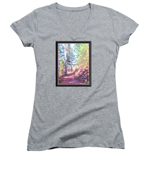 Women's V-Neck T-Shirt (Junior Cut) featuring the photograph The Copper Path by Shirley Moravec
