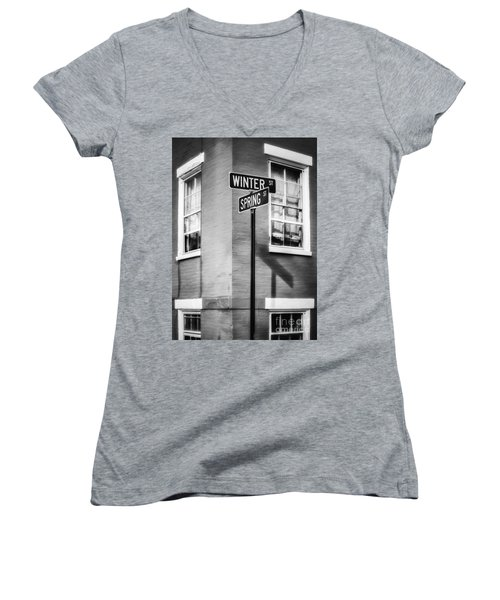 The Corner Of Winter And Spring Bw Women's V-Neck T-Shirt