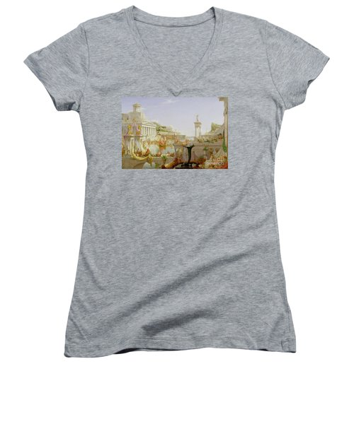 The Course Of Empire - The Consummation Of The Empire Women's V-Neck (Athletic Fit)