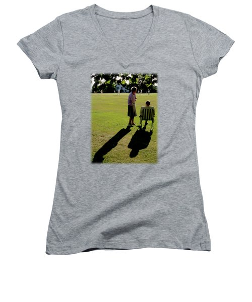 The Cricket Match Women's V-Neck T-Shirt (Junior Cut) by Jon Delorme