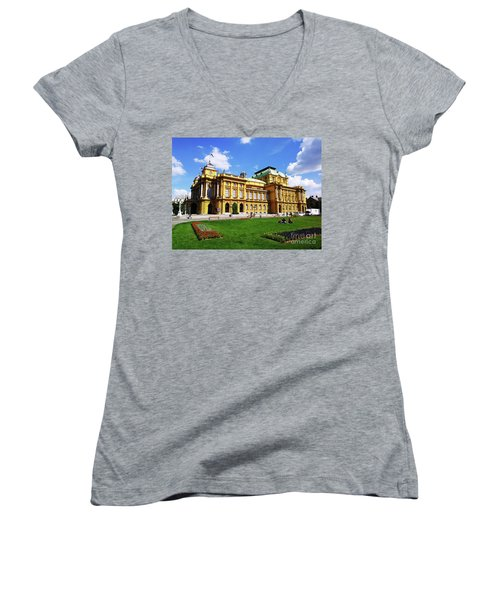 The Croatian National Theater In Zagreb, Croatia Women's V-Neck T-Shirt (Junior Cut) by Jasna Dragun