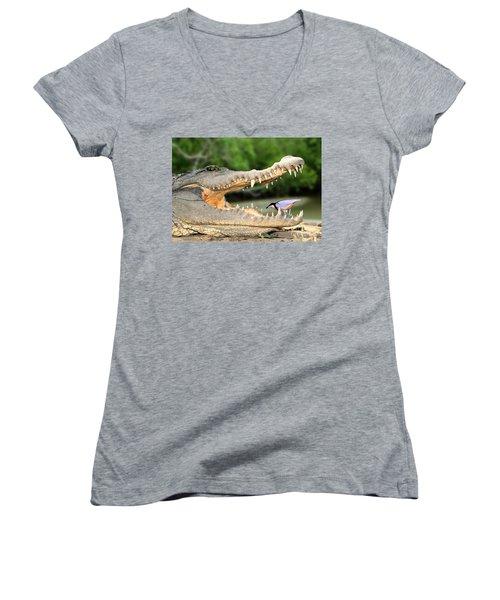 The Crocodile Bird Women's V-Neck (Athletic Fit)