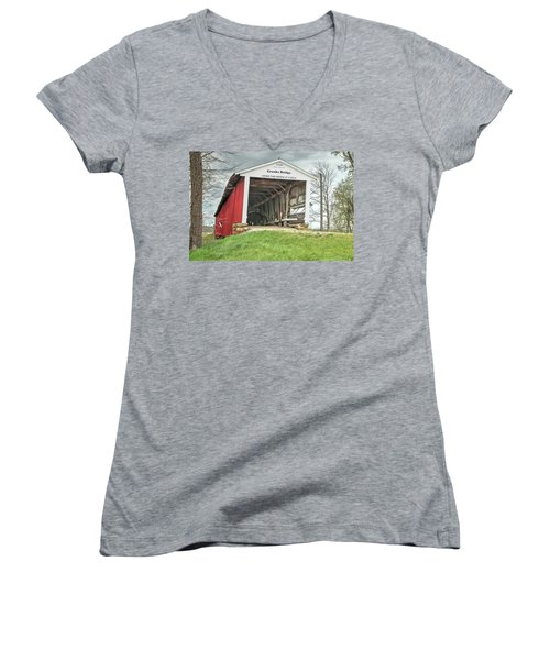 Women's V-Neck T-Shirt (Junior Cut) featuring the photograph The Crooks Covered Bridge by Harold Rau