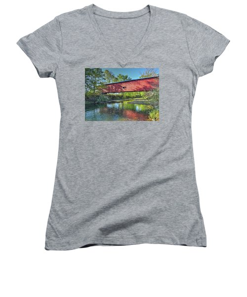 The Crooks Covered Bridge - Sideview Women's V-Neck T-Shirt (Junior Cut) by Harold Rau