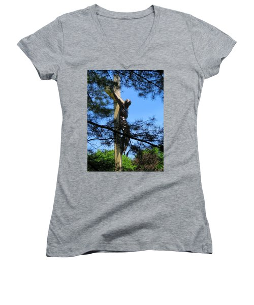 The Cross In The Woods Women's V-Neck T-Shirt (Junior Cut) by Keith Stokes