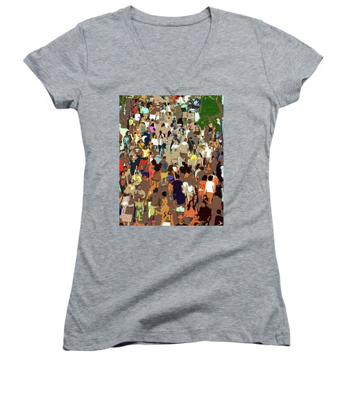 Women's V-Neck T-Shirt (Junior Cut) featuring the painting The Crowd by David Lee Thompson