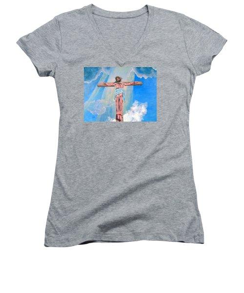 The Crucifixion Daytime Women's V-Neck T-Shirt (Junior Cut) by Stan Hamilton
