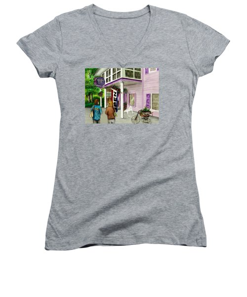 Women's V-Neck T-Shirt (Junior Cut) featuring the drawing The Crystal Cove At Lilydale Ny by Albert Puskaric