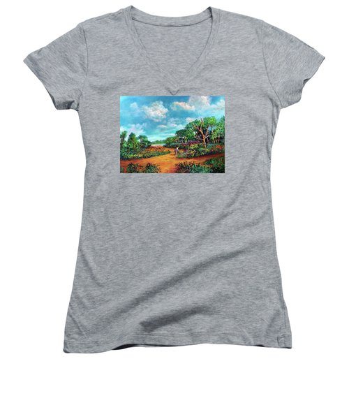 Women's V-Neck T-Shirt (Junior Cut) featuring the painting The Cycle Of Life by Randol Burns