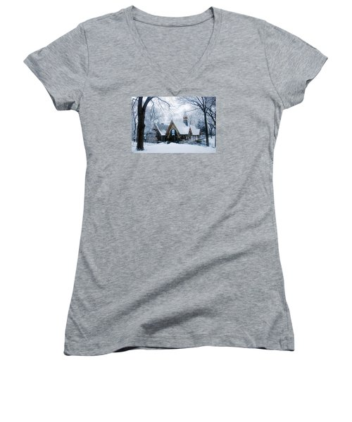 The Dairy In Winter Women's V-Neck T-Shirt (Junior Cut) by James Kirkikis