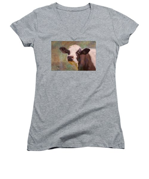 Women's V-Neck T-Shirt (Junior Cut) featuring the mixed media The Dairy Queen by Colleen Taylor
