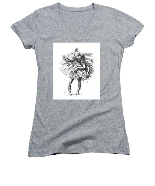 The Dance Macabre Women's V-Neck T-Shirt (Junior Cut) by Yvonne Wright