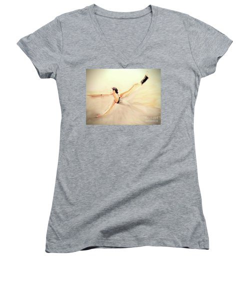 The Dance Of Life Women's V-Neck T-Shirt (Junior Cut) by FeatherStone Studio Julie A Miller