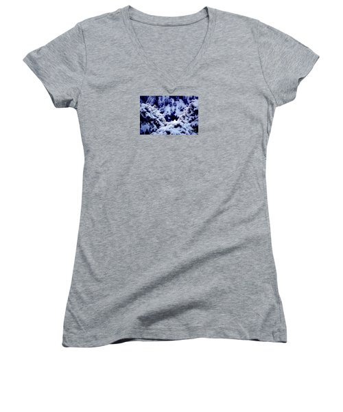 Women's V-Neck T-Shirt (Junior Cut) featuring the photograph The Deep Blue - Winter Wonderland In Switzerland by Susanne Van Hulst