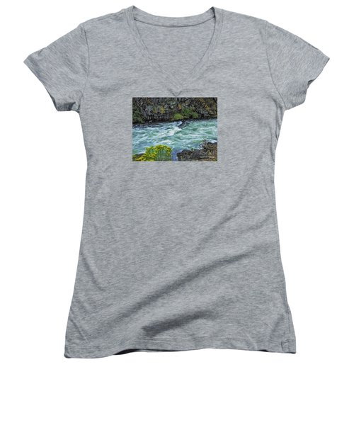 The Deschutes River At Dillon Falls Women's V-Neck T-Shirt (Junior Cut) by Nancy Marie Ricketts
