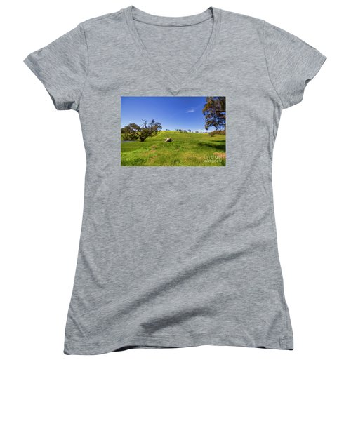 Women's V-Neck T-Shirt (Junior Cut) featuring the photograph The Distant Hill by Douglas Barnard