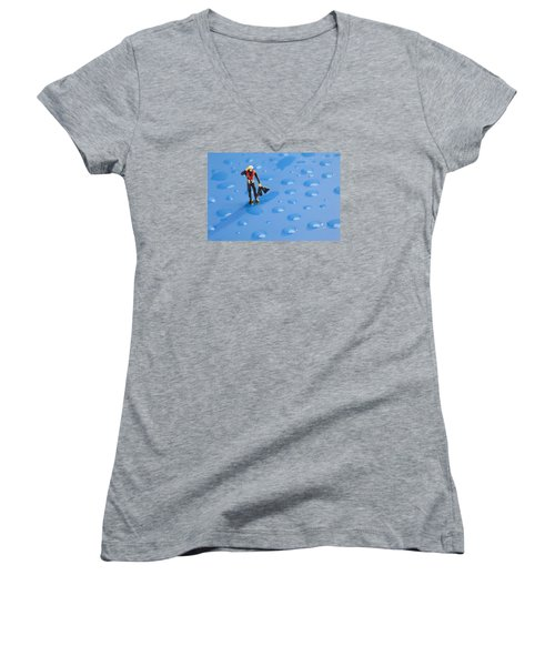 Women's V-Neck T-Shirt (Junior Cut) featuring the photograph The Diver Among Water Drops Little People Big World by Paul Ge