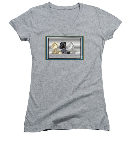 Women's V-Neck T-Shirt (Junior Cut) featuring the digital art The Divine Sisters by Jacqueline Lloyd