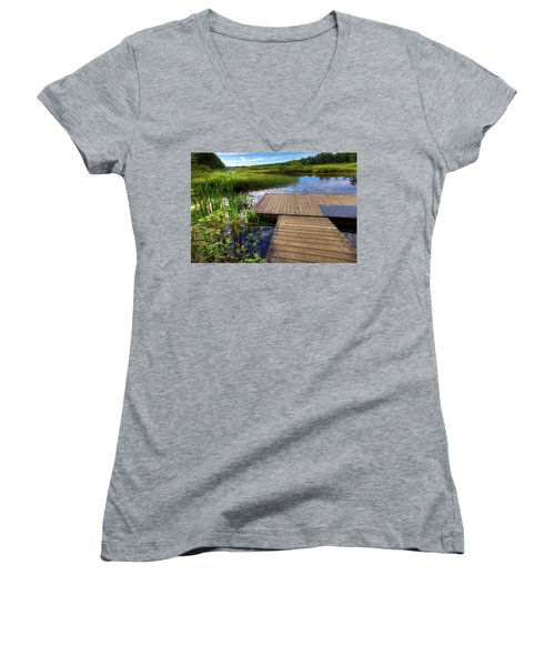 The Dock At Mountainman Women's V-Neck T-Shirt (Junior Cut) by David Patterson