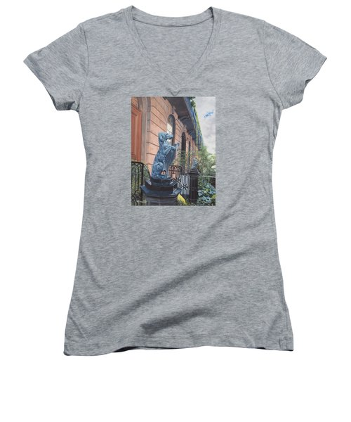 The Dogs On West Tenth Street, New York, Ny  Women's V-Neck (Athletic Fit)