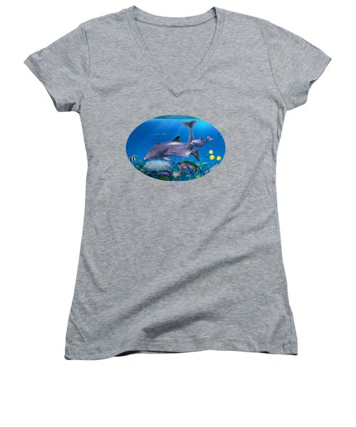 The Dolphin Family Women's V-Neck T-Shirt