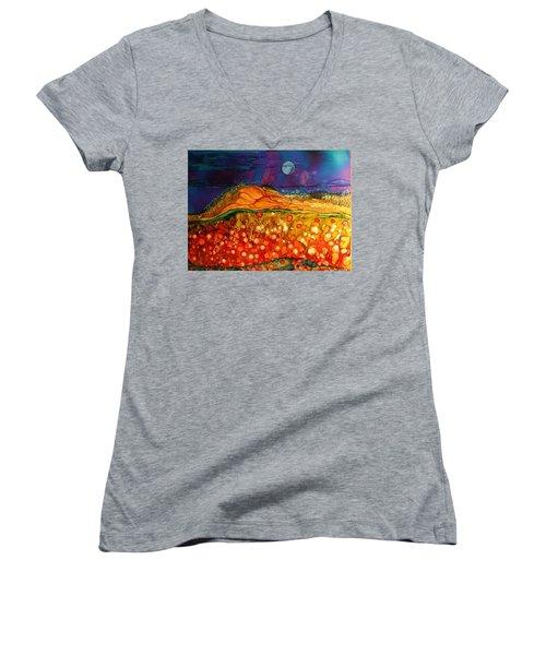 The Dunes At Night Women's V-Neck