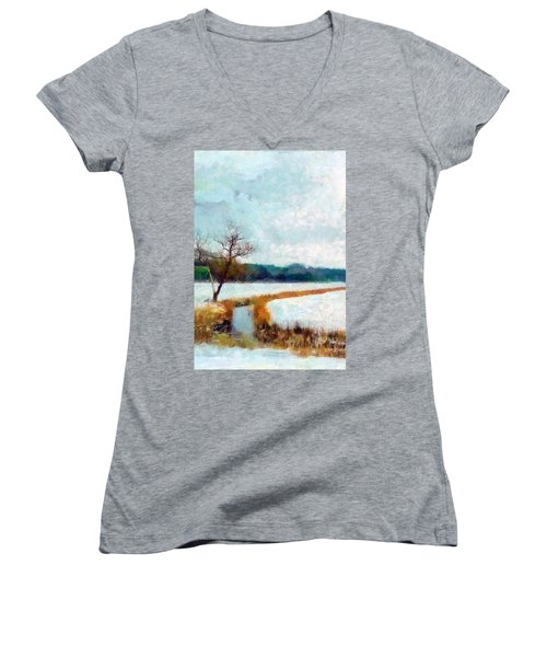 Women's V-Neck featuring the painting The Dyke by Valerie Anne Kelly