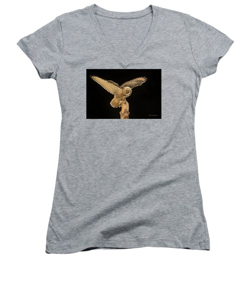 The Eagle-owl Has Landed Women's V-Neck (Athletic Fit)
