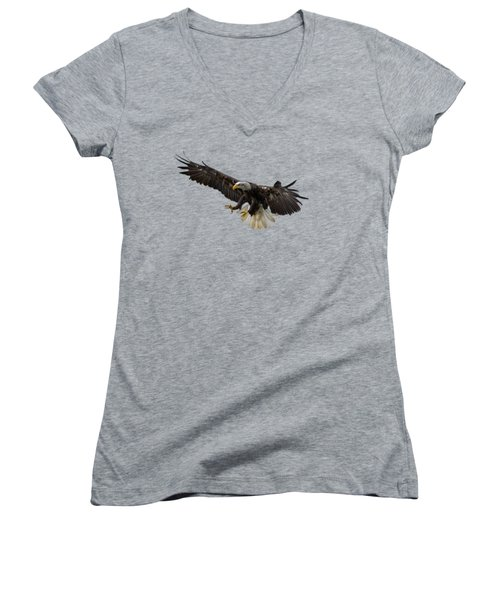 Women's V-Neck T-Shirt (Junior Cut) featuring the photograph The Eagle by Scott Carruthers