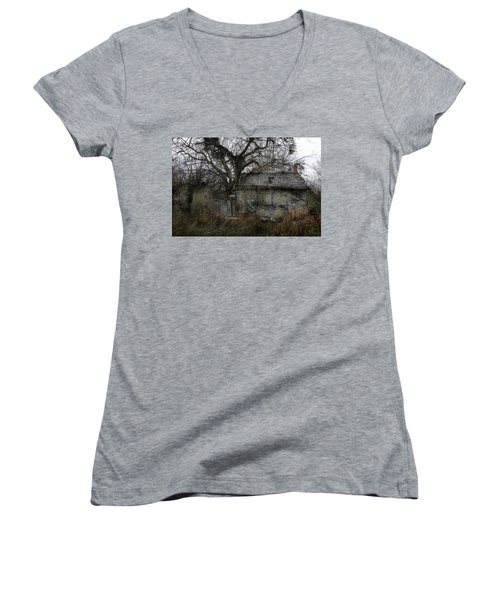 Women's V-Neck T-Shirt (Junior Cut) featuring the photograph The Earth Reclaims by Jim Vance