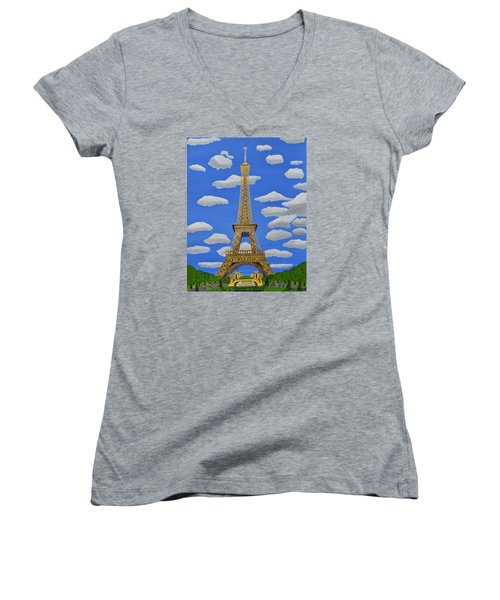 The Eiffel Tower  Women's V-Neck (Athletic Fit)