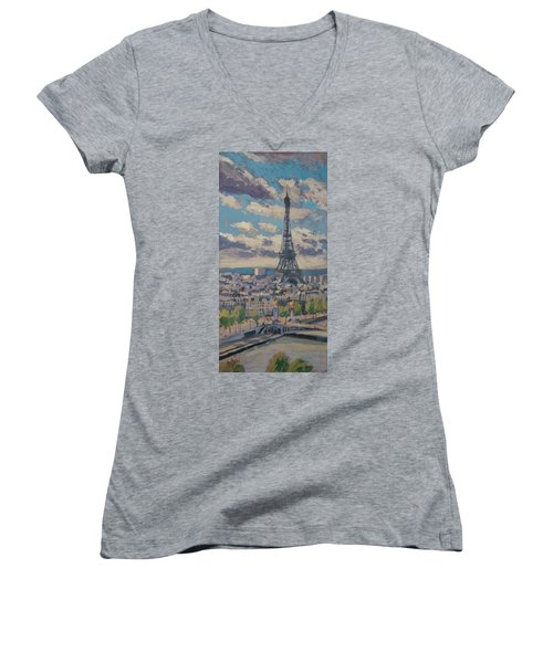The Eiffel Tower Paris Women's V-Neck T-Shirt (Junior Cut) by Nop Briex