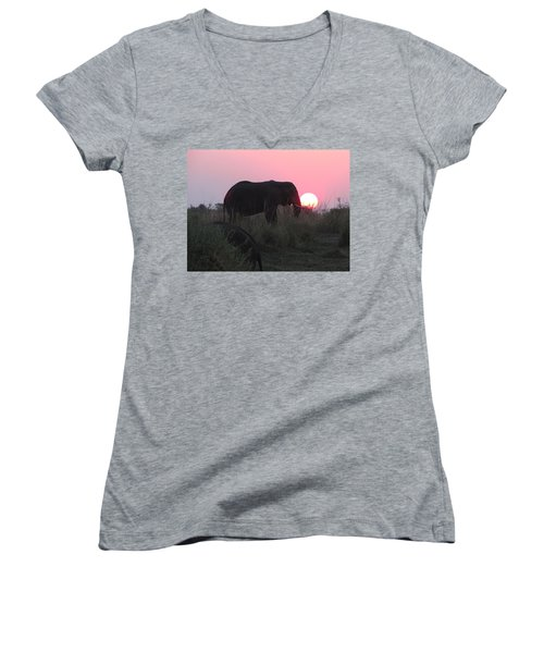 The Elephant And The Sun Women's V-Neck