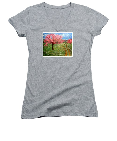 The Enchanted Fairy Garden Meadow Women's V-Neck (Athletic Fit)