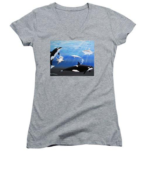 The Encounter Women's V-Neck T-Shirt (Junior Cut) by Luis F Rodriguez