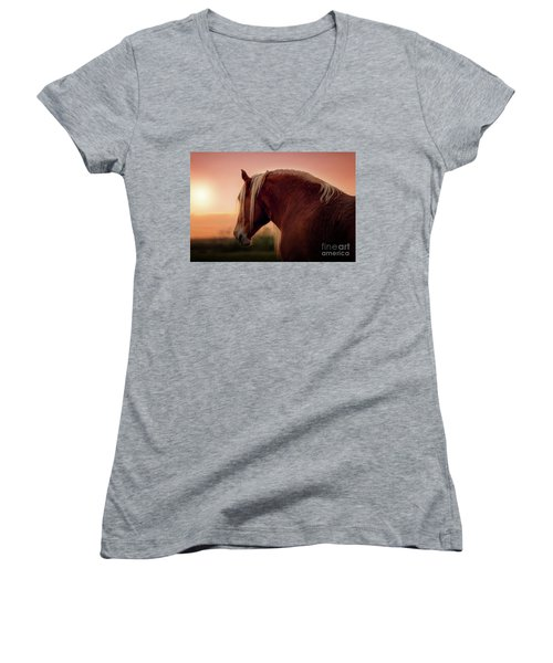 The End Of A Long Day At The Ranch Women's V-Neck T-Shirt (Junior Cut) by Tamyra Ayles