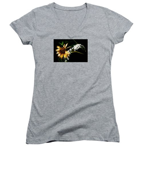 Women's V-Neck T-Shirt (Junior Cut) featuring the digital art The End Of Summer by Cameron Wood