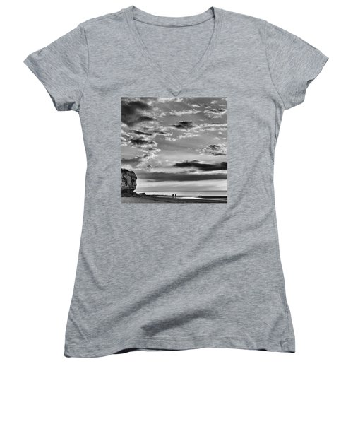 The End Of The Day, Old Hunstanton  Women's V-Neck T-Shirt (Junior Cut) by John Edwards
