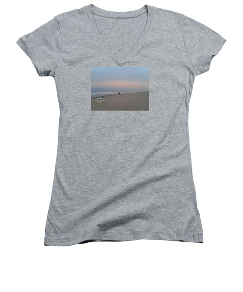 The End Of The Day Women's V-Neck T-Shirt (Junior Cut) by Veronica Rickard