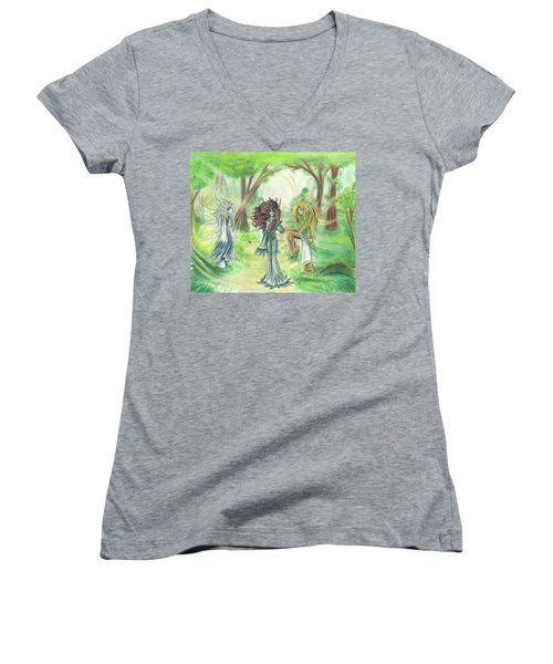 Women's V-Neck T-Shirt featuring the painting The Fae - Sylvan Creatures Of The Forest by Shawn Dall