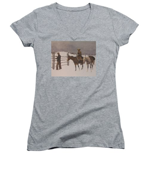 The Fall Of The Cowboy Women's V-Neck T-Shirt (Junior Cut) by Frederic Remington