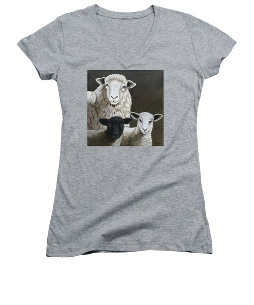 The Family - Sheep Oil Painting Women's V-Neck