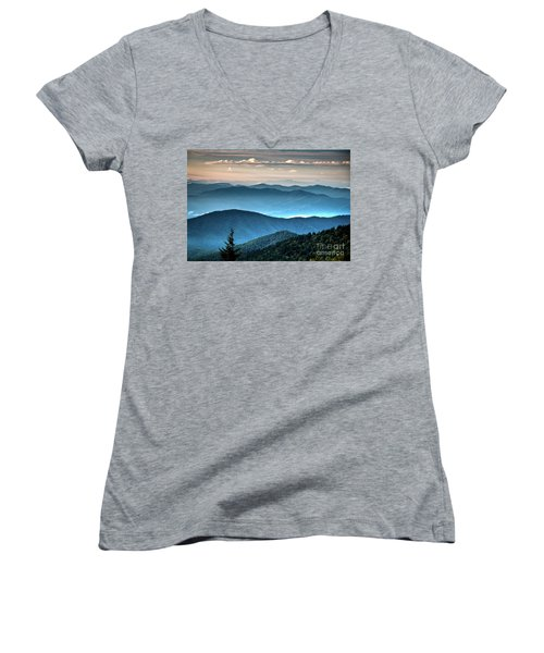 The Far Blue Smoky Mtns. Women's V-Neck (Athletic Fit)