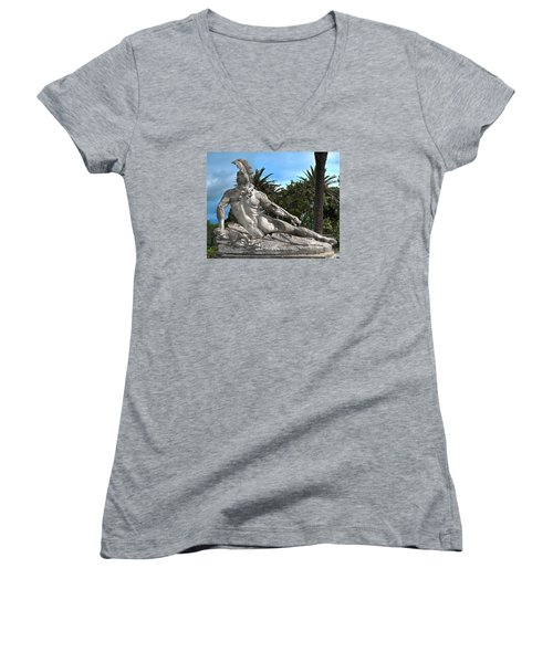 Women's V-Neck T-Shirt (Junior Cut) featuring the photograph The Feather by Richard Ortolano