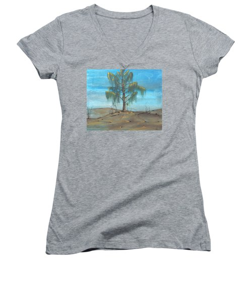 The Feather Tree Women's V-Neck T-Shirt (Junior Cut) by Pat Purdy