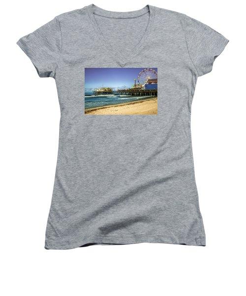 The Ferris Wheel - Santa Monica Pier Women's V-Neck T-Shirt