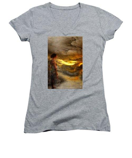 Women's V-Neck T-Shirt (Junior Cut) featuring the digital art The First Step by Gun Legler