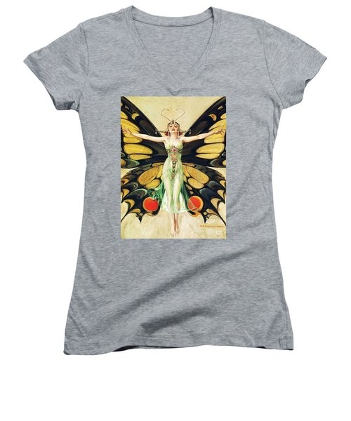 The Flapper Women's V-Neck T-Shirt (Junior Cut) by Pg Reproductions