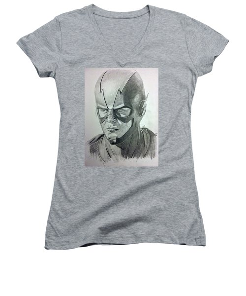 Women's V-Neck T-Shirt (Junior Cut) featuring the drawing The Flash by Michael McKenzie