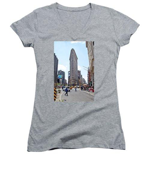 The Flatiron Building Women's V-Neck T-Shirt
